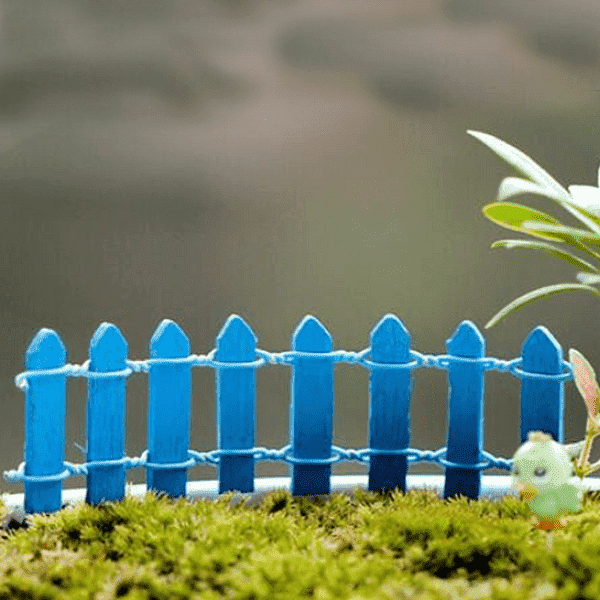 Wooden fence miniature garden toys (Blue) - 4 Pieces