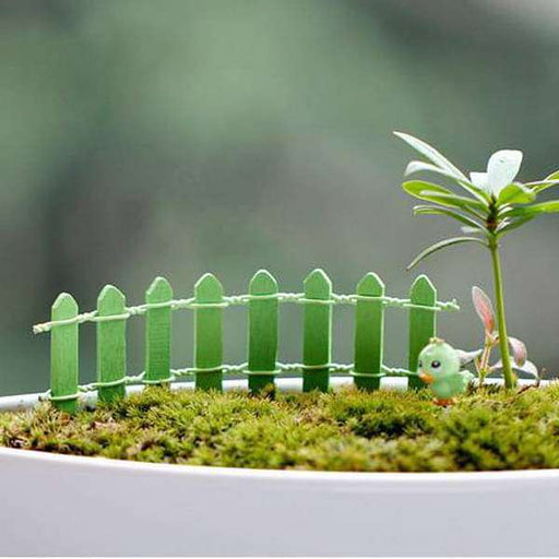 Wooden fence miniature garden toys (Green) - 4 Pieces - Nurserylive
