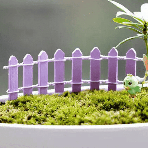 Wooden fence miniature garden toys (Lavender) - 4 Pieces - Nurserylive