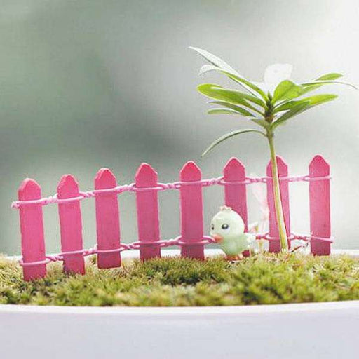Wooden fence miniature garden toys (Pink) - 4 Pieces - Nurserylive