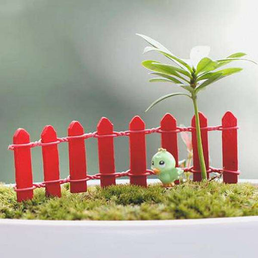 Wooden fence miniature garden toys (Red) - 4 Pieces - Nurserylive