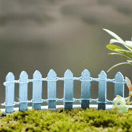 Wooden fence miniature garden toys (Sky Blue) - 4 Pieces - Nurserylive