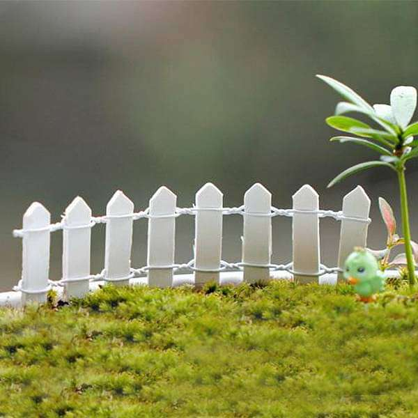 Wooden fence miniature garden toys (White) - 4 Pieces - Nurserylive