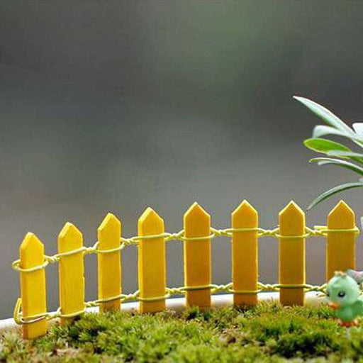 Wooden fence miniature garden toys (Yellow) - 4 Pieces - Nurserylive