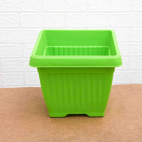 10 inch (25 cm) Bello Square Plastic Pot (Green) (set of 3) - Nurserylive