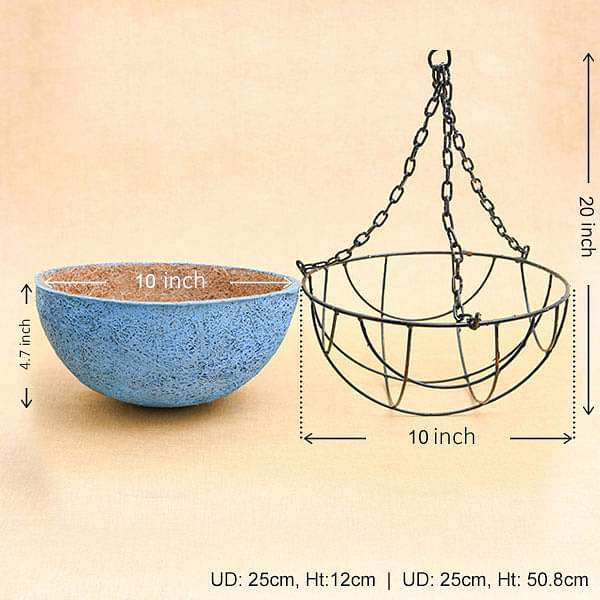 10 inch (25 cm) Coir Basket with Hanger (Sky Blue) - Nurserylive