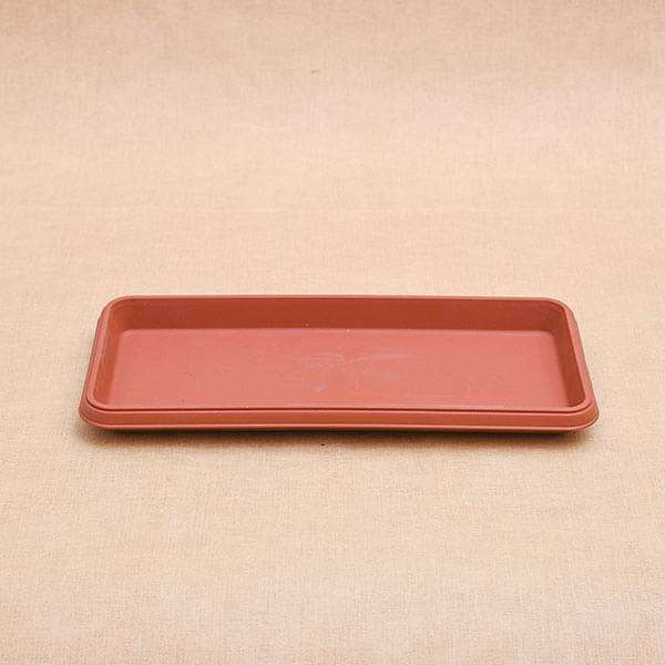11.2 inch (28 cm) Rectangle Plastic Plate for 11.8 inch (30 cm) Bello Window Planter No. 30 Pot (Terracotta Color) (set of 3) - Nurserylive