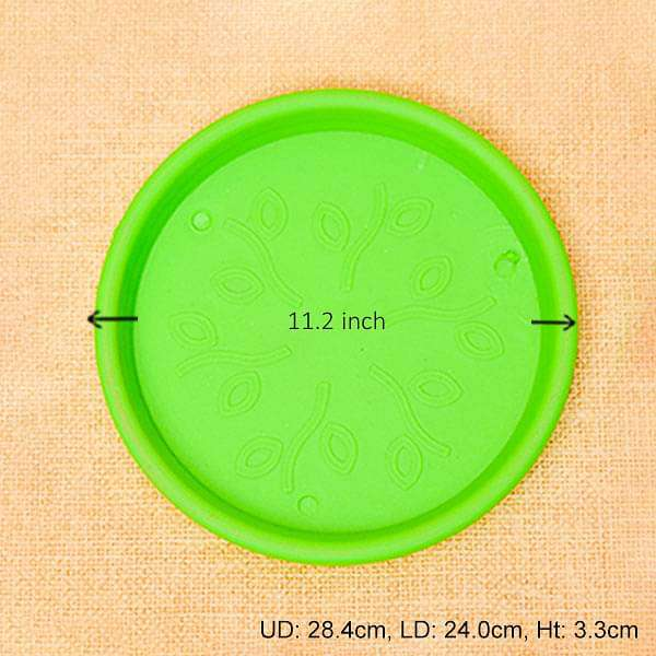 11.2 inch (28 cm) Round Plastic Plate for 12 inch (30 cm) Grower Pots (Green) (set of 3) - Nurserylive