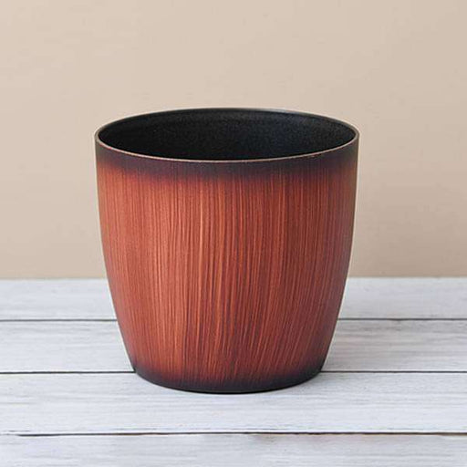 11.3 inch (29 cm) Ronda No. 2926 Wooden Finish Round Plastic Planter (Brown) - Nurserylive