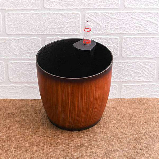 11.3 inch (29 cm) Ronda No. 2926 Wooden Finish Self Watering Round Plastic Planter (Brown) - Nurserylive