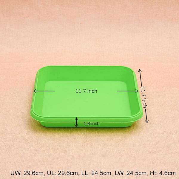 11.7 inch (30 cm) Square Plastic Plate for 14 inch (36 cm) Bello Square Pot (Green) (set of 3) - Nurserylive