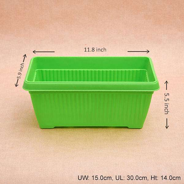 11.8 inch (30 cm) Bello Window Planter No. 30 Rectangle Plastic Pot (Green) (set of 6) - Nurserylive