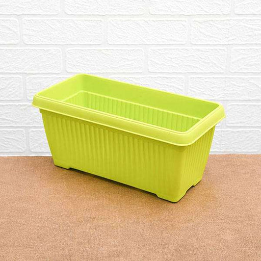 11.8 inch (30 cm) Bello Window Planter No. 30 Rectangle Plastic Pot (Lime Yellow) (set of 6) - Nurserylive