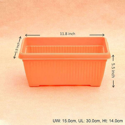 11.8 inch (30 cm) Bello Window Planter No. 30 Rectangle Plastic Pot (Orange) (set of 6) - Nurserylive