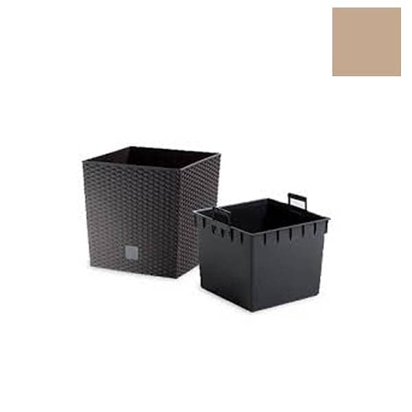 12.6 inch (32 cm) Rato Low Small Self Watering Square Planter (Moccha / Coffee Color) - Nurserylive
