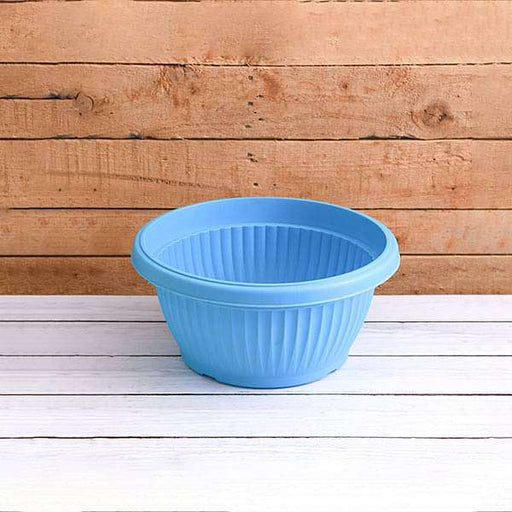 12 inch (30 cm) Bello Bowl Round Plastic Pot (Sky Blue) (set of 3) - Nurserylive