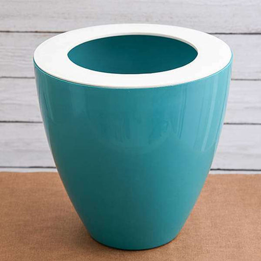 12 inch (30 cm) Convex Round Plastic Planter (Sea Green) - Nurserylive
