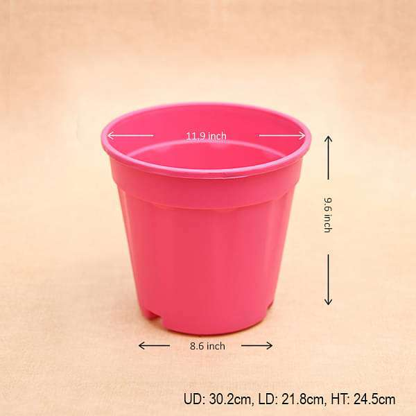12 inch (30 cm) Grower Round Plastic Pot (Dark Pink) (set of 3) - Nurserylive