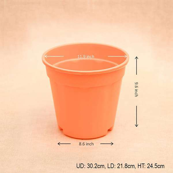 12 inch (30 cm) Grower Round Plastic Pot (Orange) (set of 3)