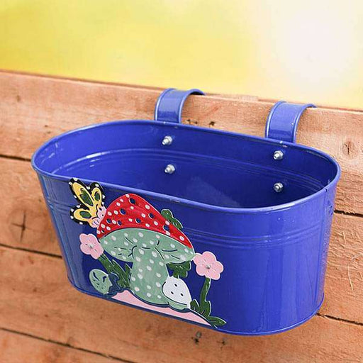 12 inch (30 cm) Mushroom Tub Railing Oval Metal  Planter (Blue) (set of 3) - Nurserylive
