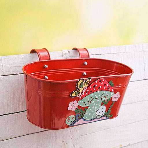12 inch (30 cm) Mushroom Tub Railing Oval Metal  Planter (Red) (set of 3) - Nurserylive