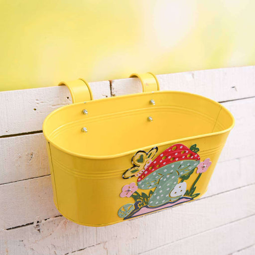 12 inch (30 cm) Mushroom Tub Railing Oval Metal  Planter (Yellow) (set of 3) - Nurserylive