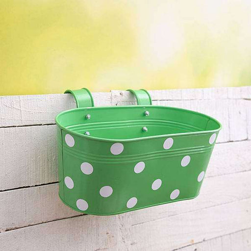 12 inch (30 cm) Polka Railing Oval Metal Planter (Green) (set of 3) - Nurserylive