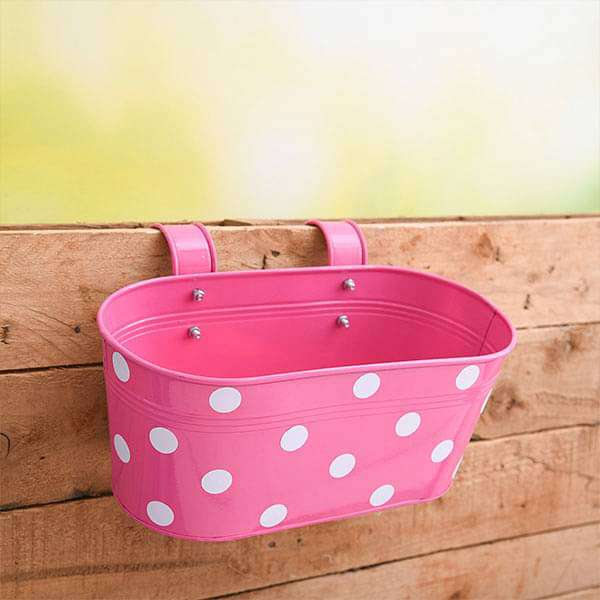 12 inch (30 cm) Polka Railing Oval Metal Planter (Pink) (set of 3) - Nurserylive