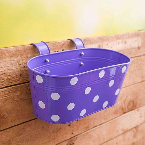 12 inch (30 cm) Polka Railing Oval Metal Planter (Purple) (set of 3) - Nurserylive