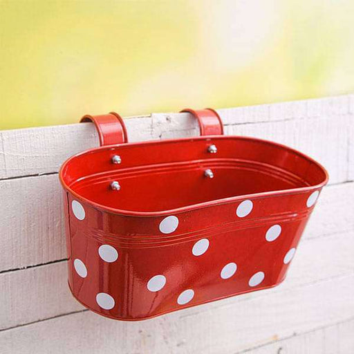 12 inch (30 cm) Polka Railing Oval Metal Planter (Red) (set of 3) - Nurserylive
