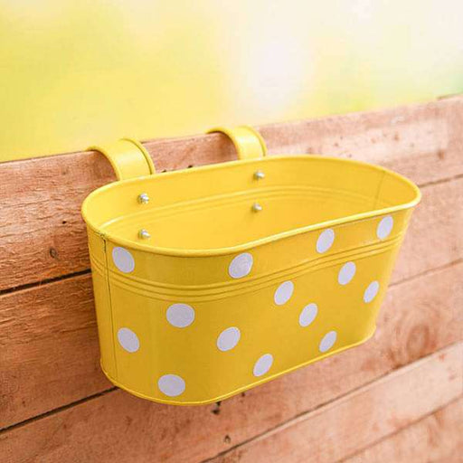 12 inch (30 cm) Polka Railing Oval Metal Planter (Yellow) (set of 3) - Nurserylive