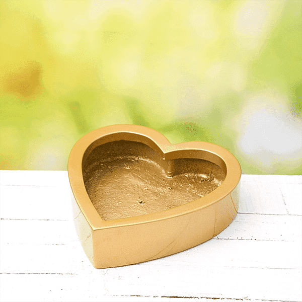 12 inch (30 cm) SML-013 Bonsai Heart Shaped Fiberglass Planter (Golden Color) - Nurserylive