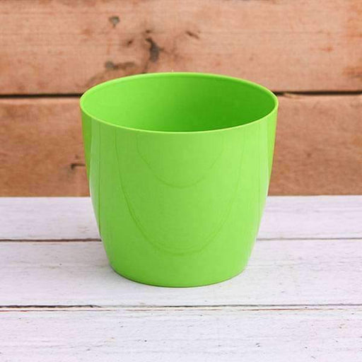 13.6 inch (35 cm) Valencia 35 Round Plastic Planter With Wheels (Green) - Nurserylive
