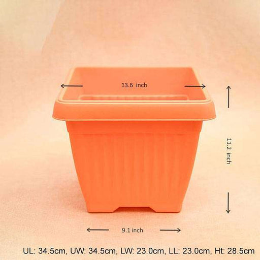 14 inch (36 cm) Bello Square Plastic Pot (Orange) (set of 3) - Nurserylive