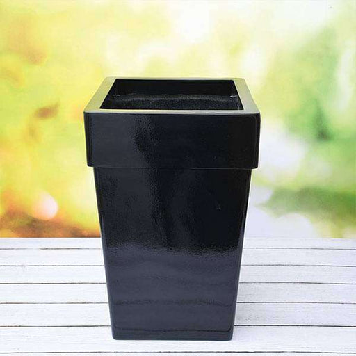 14 inch (36 cm) SQR-8 Square Fiberglass Planter with Broad Collar (Black) - Nurserylive