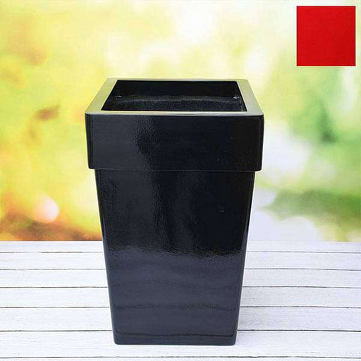 14 inch (36 cm) SQR-8 Square Fiberglass Planter with Broad Collar (Red) - Nurserylive