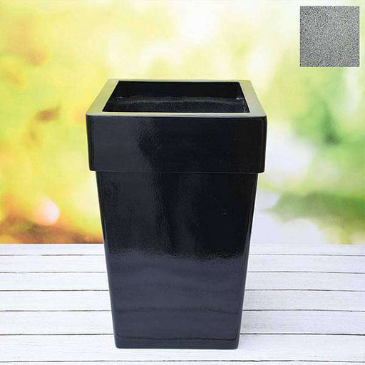 14 inch (36 cm) SQR-8 Stone Finish Square Fiberglass Planter with Broad Collar (Grey) - Nurserylive