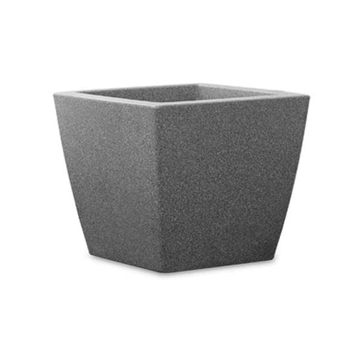 15.4 inch (39 cm) Cubo No. 40 Stone Finish Square Rotomoulded Plastic Planter With Wheels  (Grey) - Nurserylive