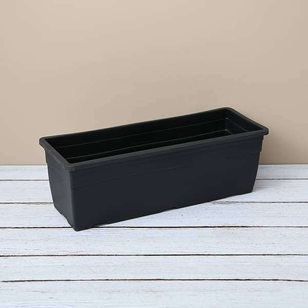 15.7 inch (40 cm)  Reca No. 40 Rectangle Plastic Planter (Black) (set of 3) - Nurserylive