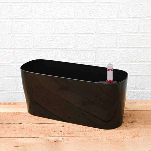 15.8 inch (40 cm) Florida Self Watering Oval Plastic Planter (Black) - Nurserylive