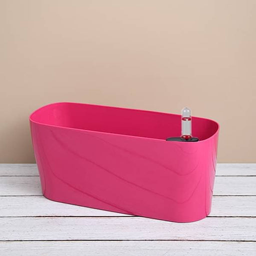 15.8 inch (40 cm) Florida Self Watering Oval Plastic Planter (Dark Pink) - Nurserylive