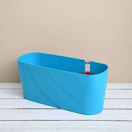 15.8 inch (40 cm) Florida Self Watering Oval Plastic Planter (Sky Blue) - Nurserylive