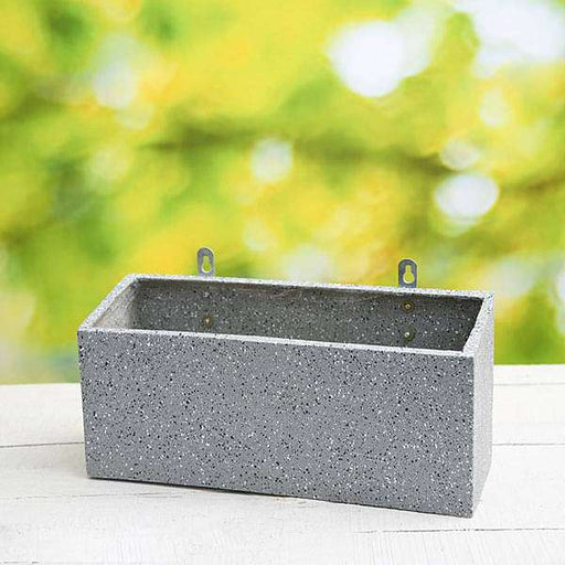 15 inch (38 cm) SML-010 Stone Finish Wall Mounted Rectangle Fiberglass Planter (Grey) - Nurserylive
