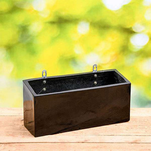 15 inch (38 cm) SML-010 Wall Mounted Rectangle Fiberglass Planter (Black) - Nurserylive