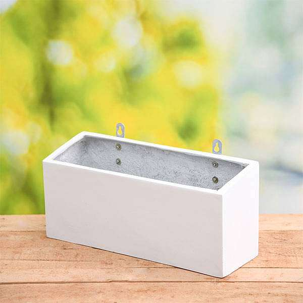 15 inch (38 cm) SML-010 Wall Mounted Rectangle Fiberglass Planter (White) - Nurserylive