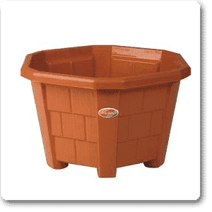 16.3 inch (41 cm) Hexa No. 7  Plastic Planter (Terracotta Color) (set of 3) - Nurserylive