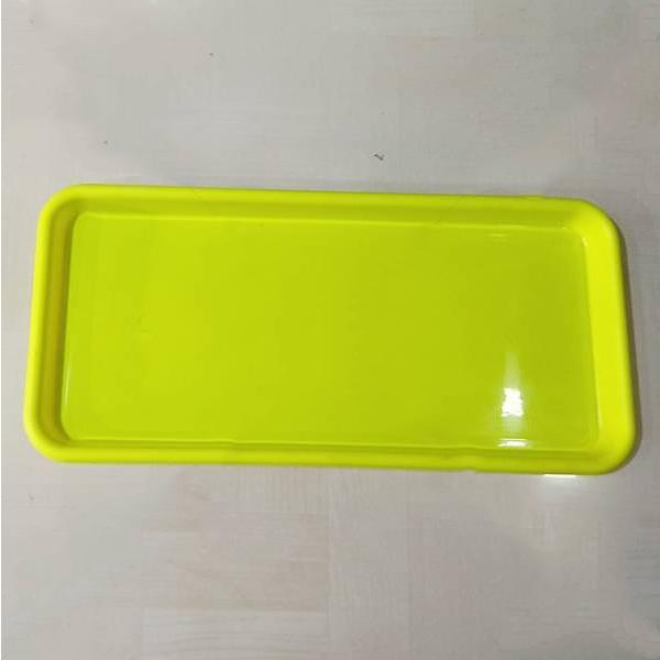 16.9 inch (43 cm) Rectangular Plastic Plate for 17.7 inch (45 cm) Small Window Pot  (Lime Yellow) (set of 3) - Nurserylive