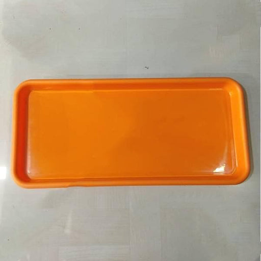 16.9 inch (43 cm) Rectangular Plastic Plate for 17.7 inch (45 cm) Small Window Pot  (Orange) (set of 3) - Nurserylive