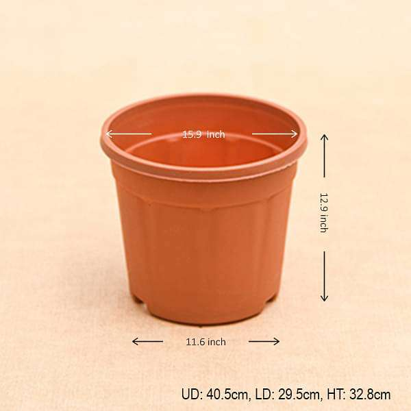 16 inch (41 cm) Grower Round Plastic Pot (Terracotta Color) (set of 3) - Nurserylive