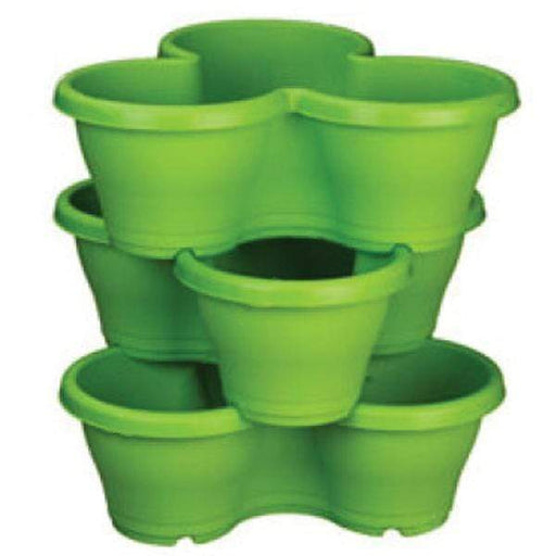 17.3 inch (44 cm) Flower Tower, Plastic Stack Pot (Green, 1 Stack) (set of 3) - Nurserylive